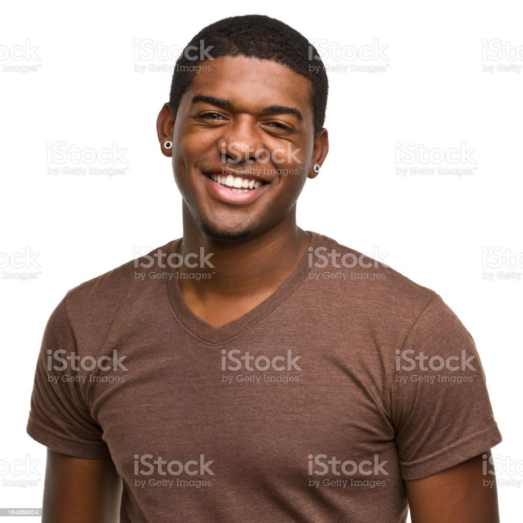 Smiling happy young male with earrings royalty-free stock photo