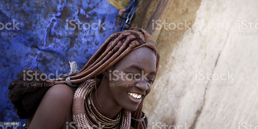 Smiling Himba woman. stock photo