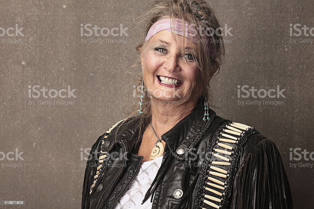 smiling hippie chick stock photo