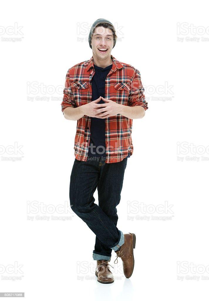 Smiling hipster looking at camera stock photo