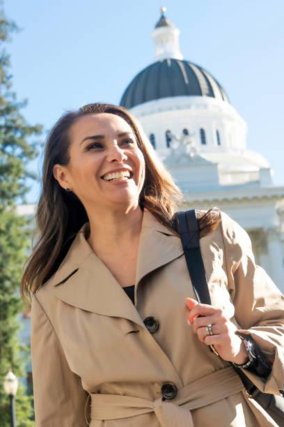Smiling Hispanic Mature Female Politician stock photo