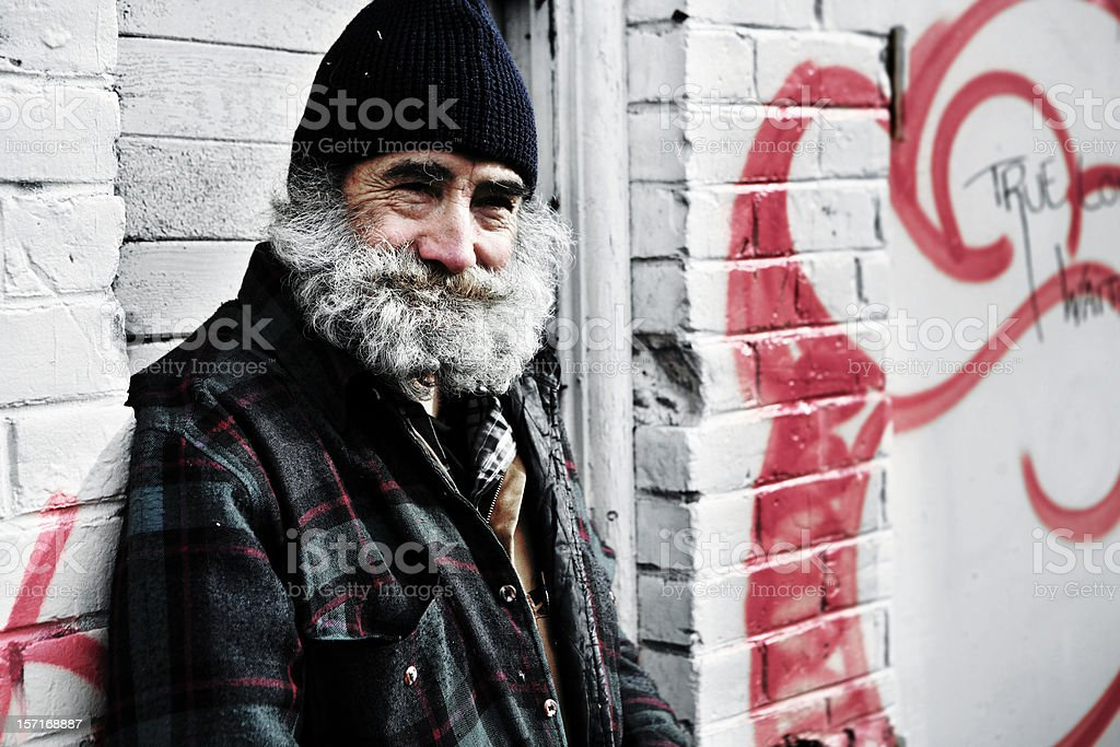 Smiling Homeless Man. stock photo