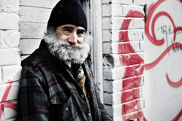 Smiling Homeless Man. stock photo