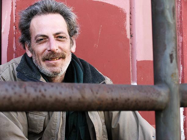 Smiling Homeless Man stock photo