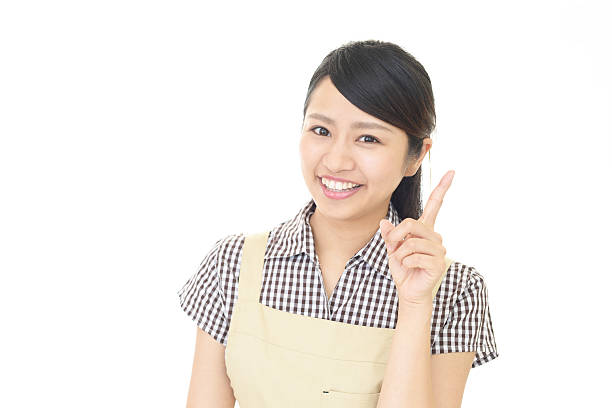 Smiling housewife stock photo