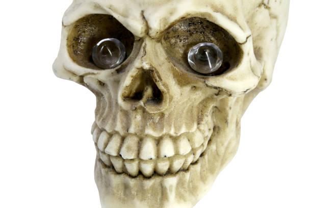 lächelnd menschlichen schädel mit wertvollen diamanten in die leeren augen-socke - europäisch geschliffene diamanten stock-fotos und bilder