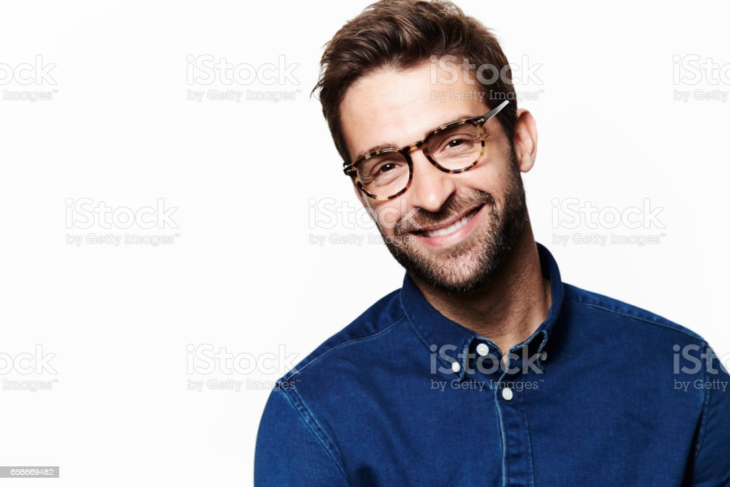 Smiling in blue stock photo