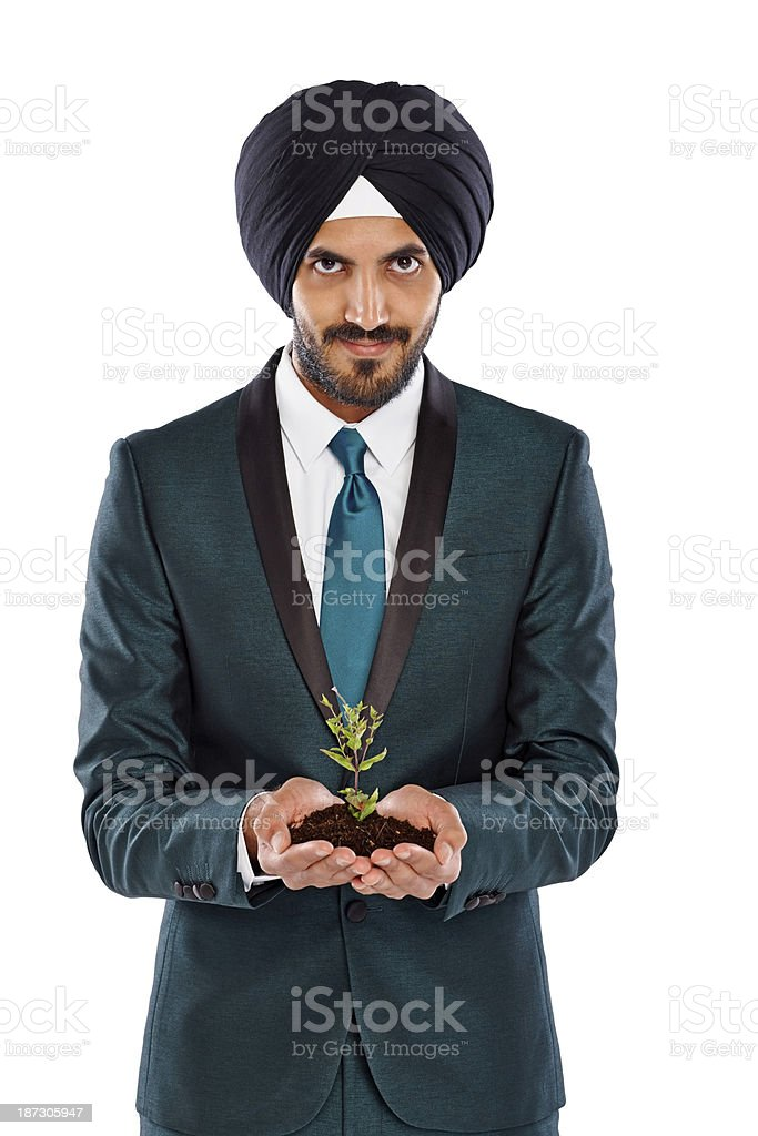 Smiling Indian businessman with a seedling royalty-free stock photo