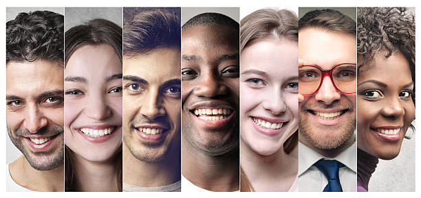 smiling is the best thing - people collage stock photos and pictures