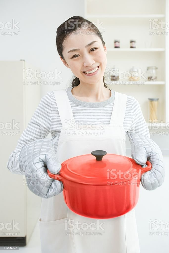 Smiling japanese housewife royalty-free stock photo