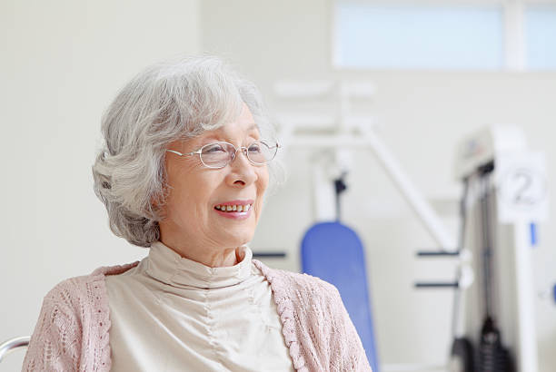 Smiling Japanese senior stock photo