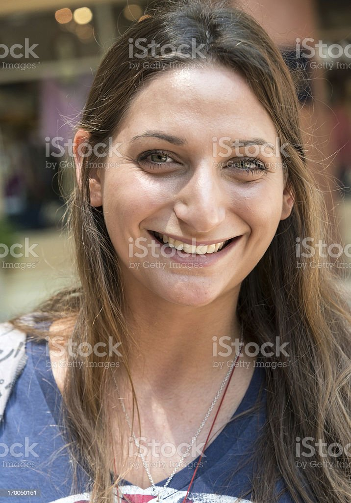 Smiling jewish young woman stock photo