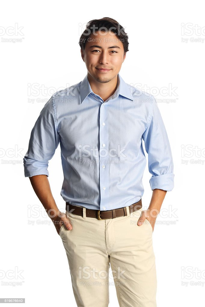 Smiling laidback man in blue shirt stock photo
