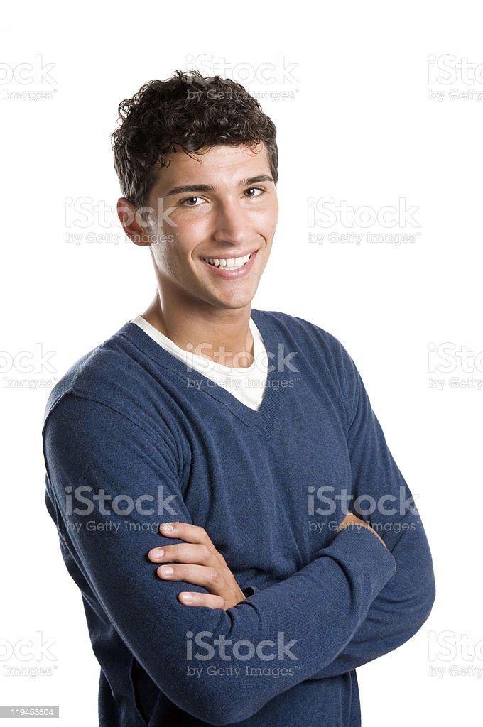 Smiling Latin man isolated on white background stock photo