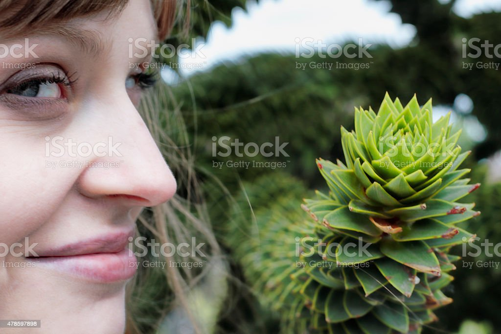Smiling Latvian tree girl next to monkey puzzle branch stock photo