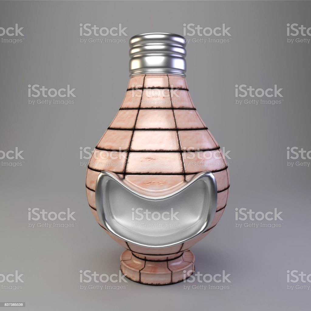 Smiling Light bulb Figurine Concept stock photo