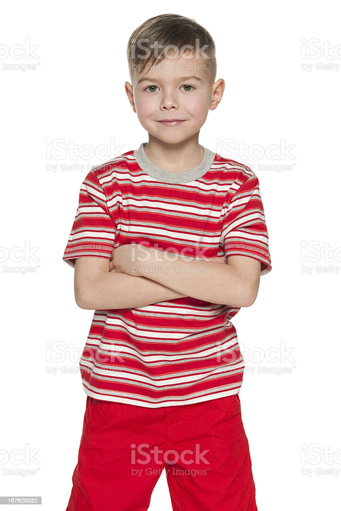 Smiling little boy in red royalty-free stock photo
