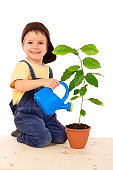 Smiling little boy watering the plant, isolated on white