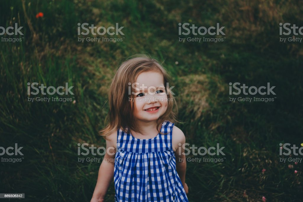 Smiling little girl in a field. stock photo
