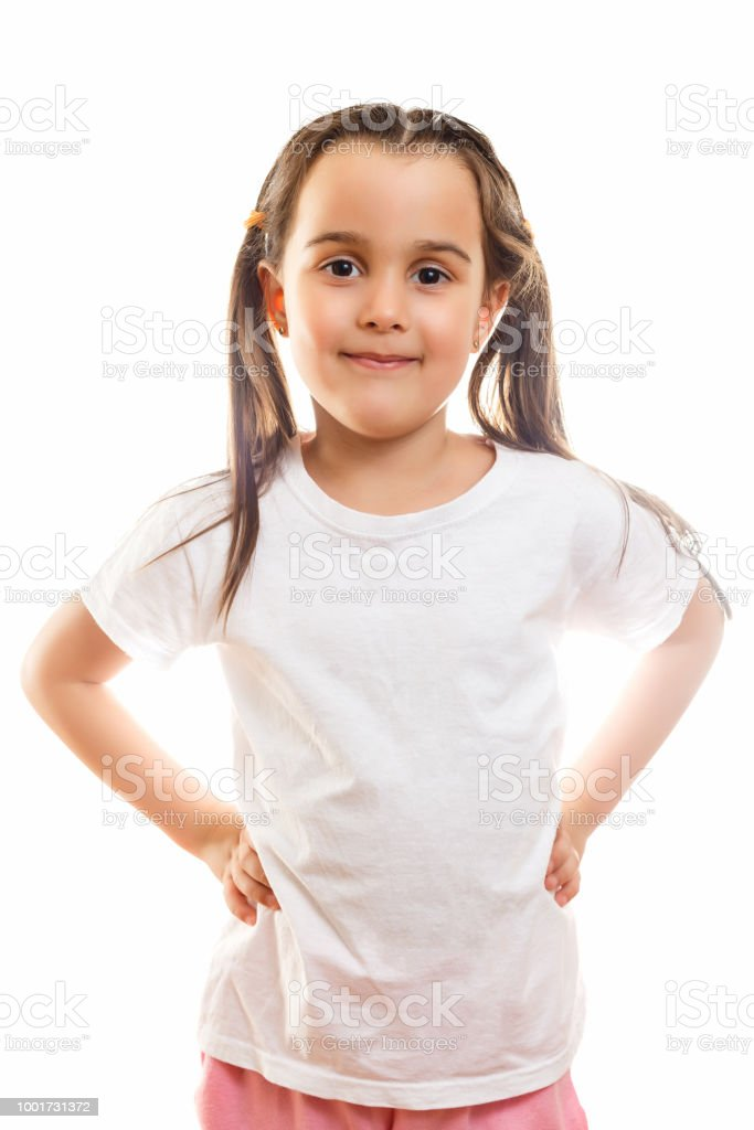 df4ee595ca6 Smiling Little Girl In White T Shirt Isolated On A White Background ...