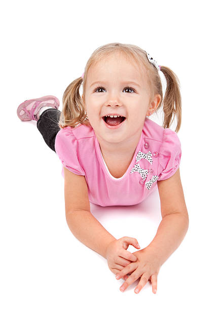 smiling little girl - pigtails stock photos and pictures
