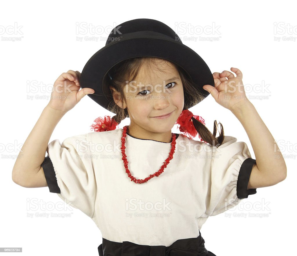 Smiling little girl with big hat and red beading royalty-free stock photo