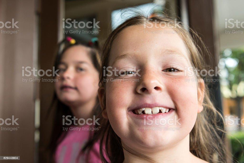 Smiling little girls stock photo