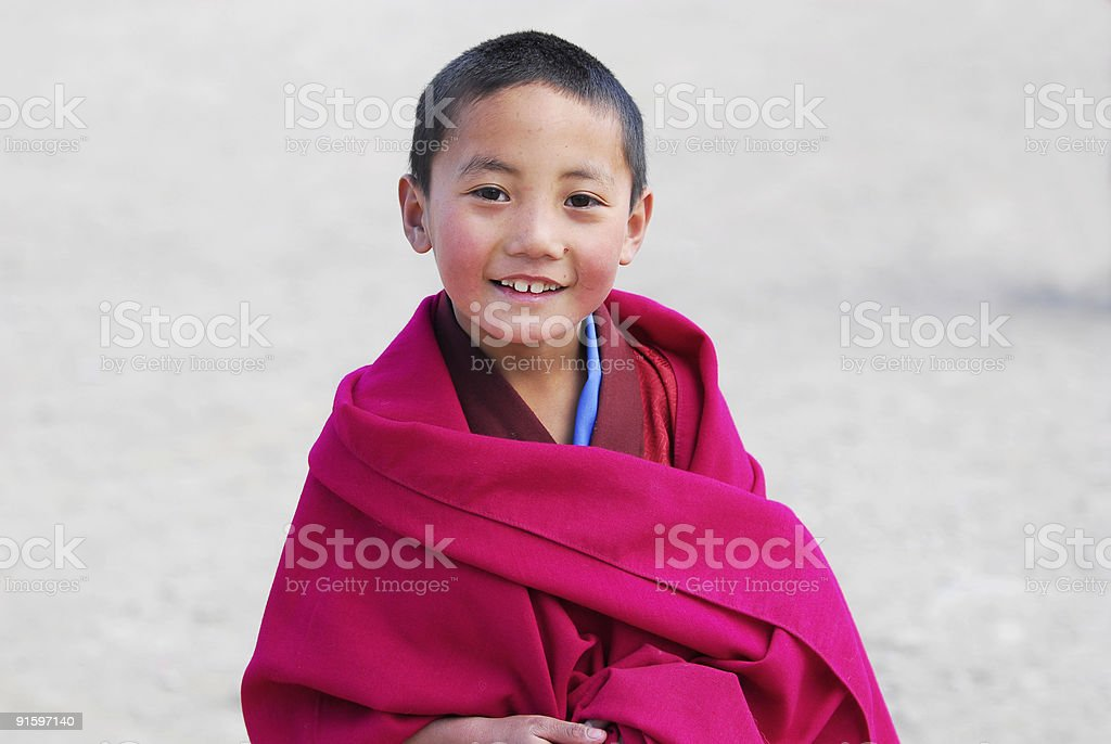 Smiling Little Monk stock photo