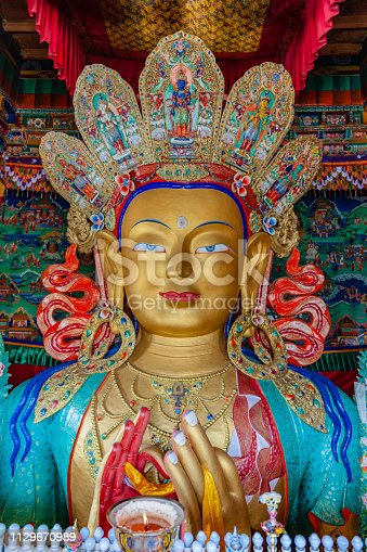 Smiling Maitreya Buddha in Thiksey Gompa,Jammu and Kashmir, Ladakh Region, Tibet,Northern India,Nikon D3x