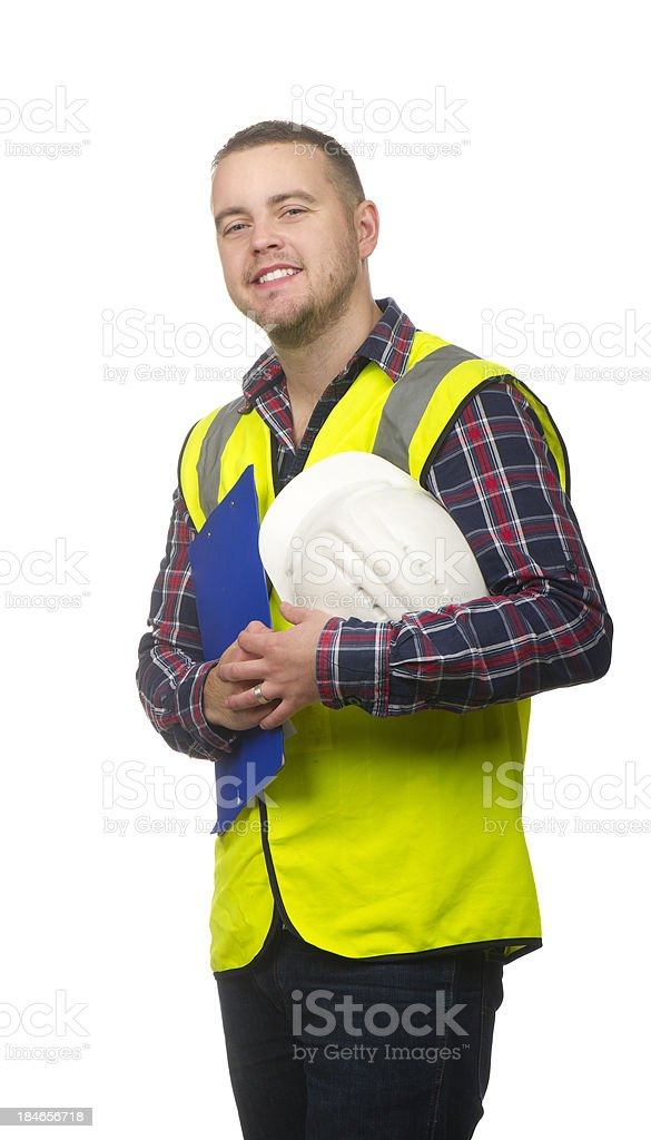 smiling male construction worker stock photo