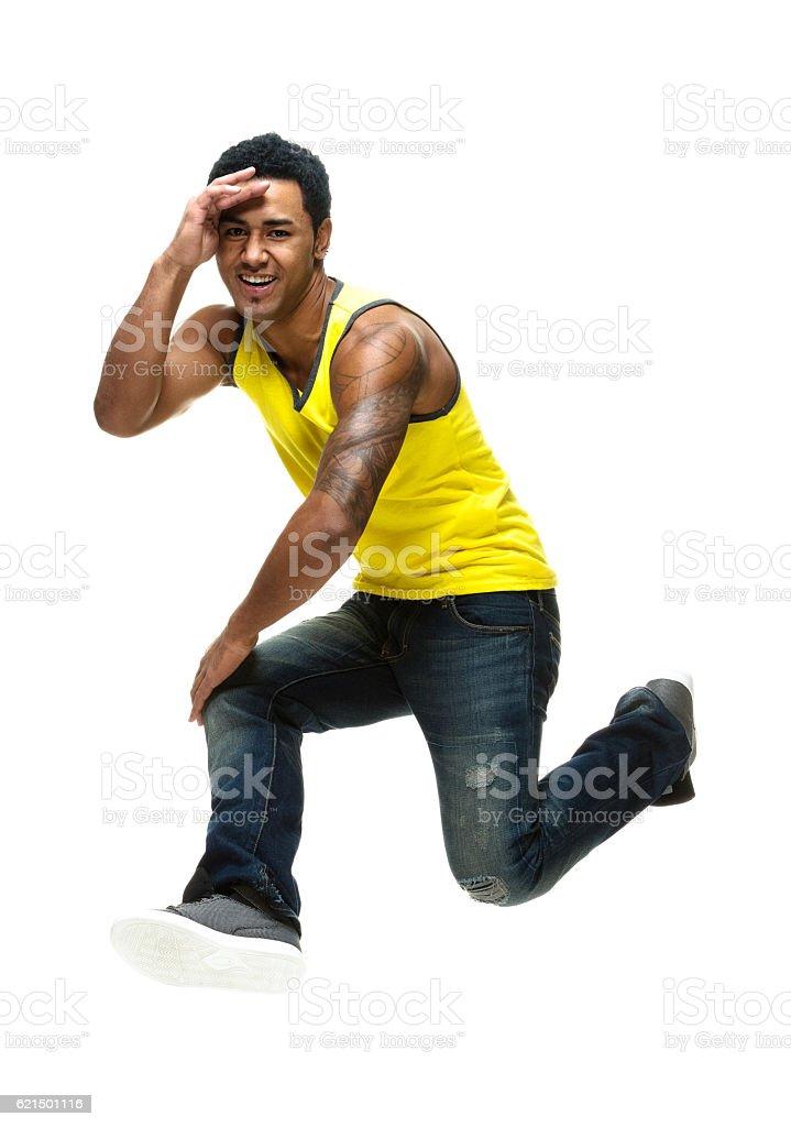 Sorridente uomo salto foto stock royalty-free