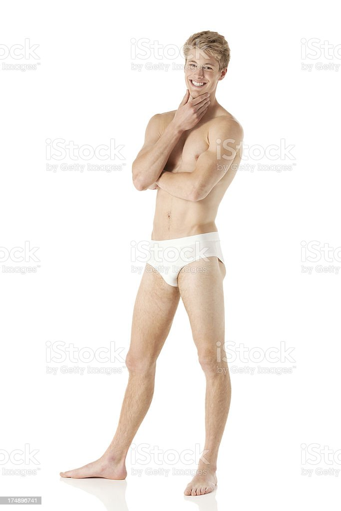 Smiling male swimmer posing royalty-free stock photo