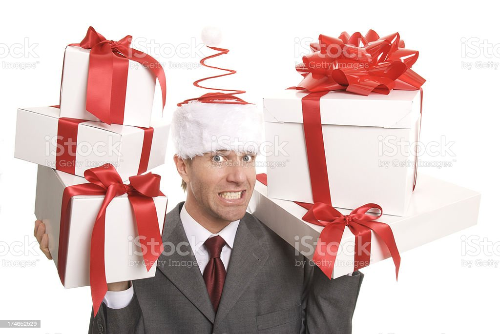 Smiling Man Carries Presents in Gift Delivery White Background stock photo