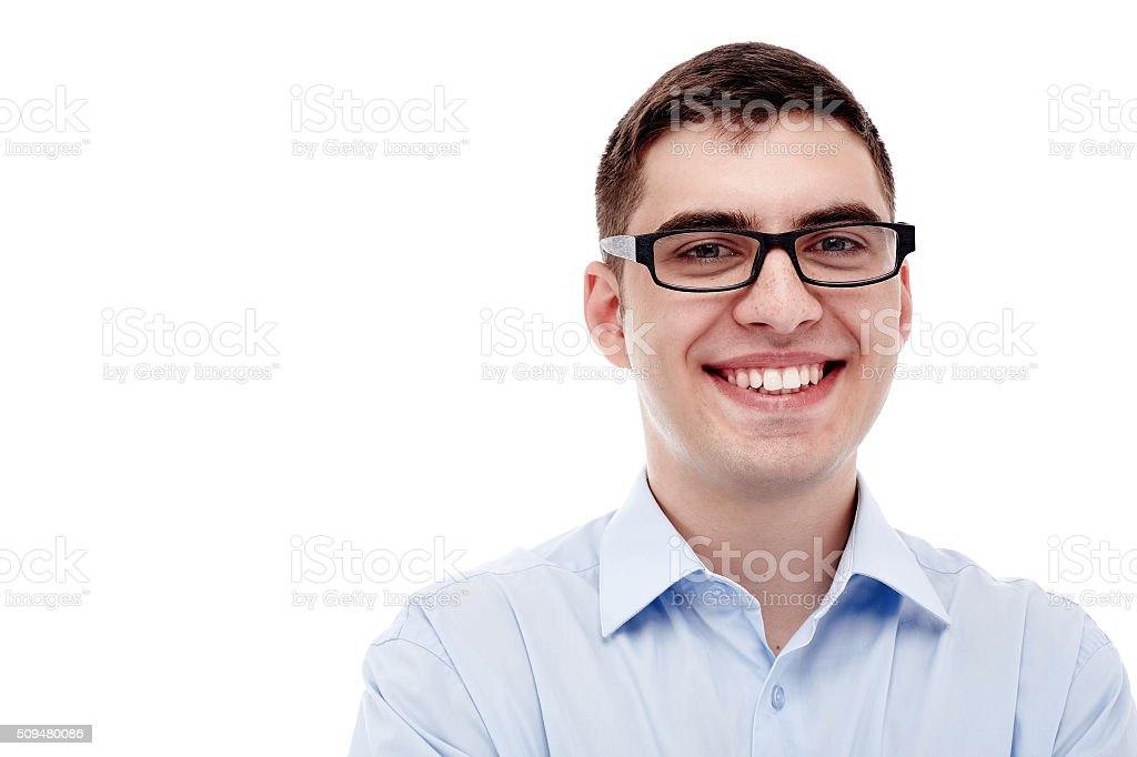 Smiling man headshot stock photo