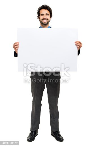 istock Smiling man holding a blank board 469923152