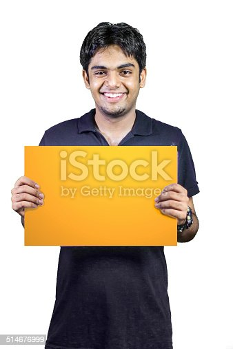 istock Smiling man holding orange placard 514676999