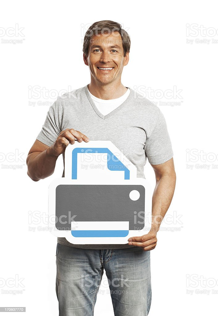 Smiling man holding printer sign isolated on white background. stock photo