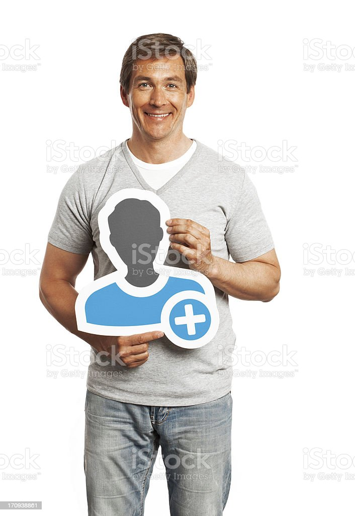 Smiling man holding profile image sign isolated on white background. stock photo