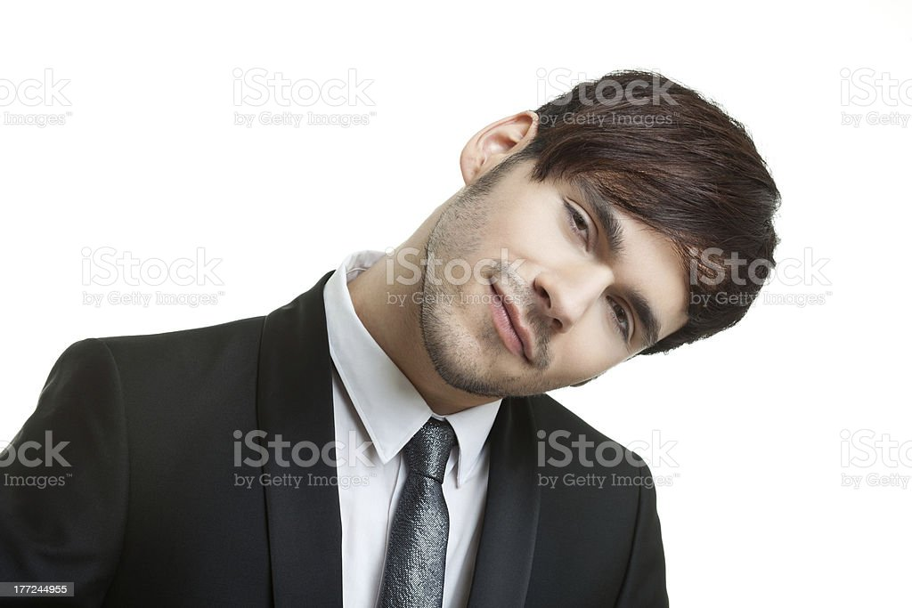 Smiling man in a dark suit with tie royalty-free stock photo