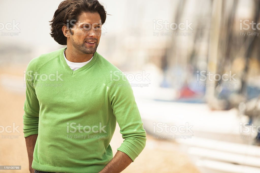Smiling man on the beach royalty-free stock photo