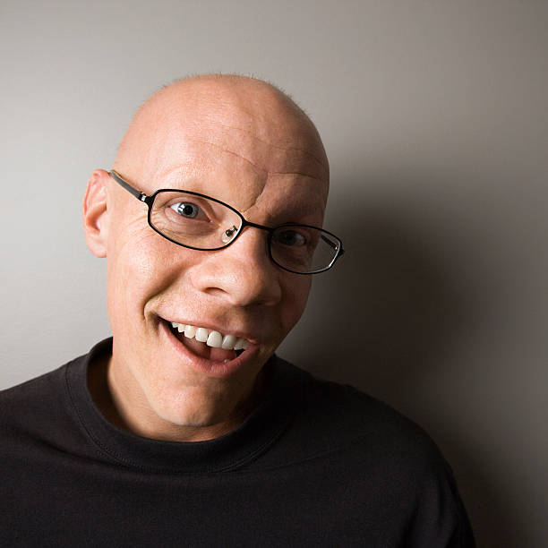 Completely Bald Glasses Shaved Head Men Stock Photos