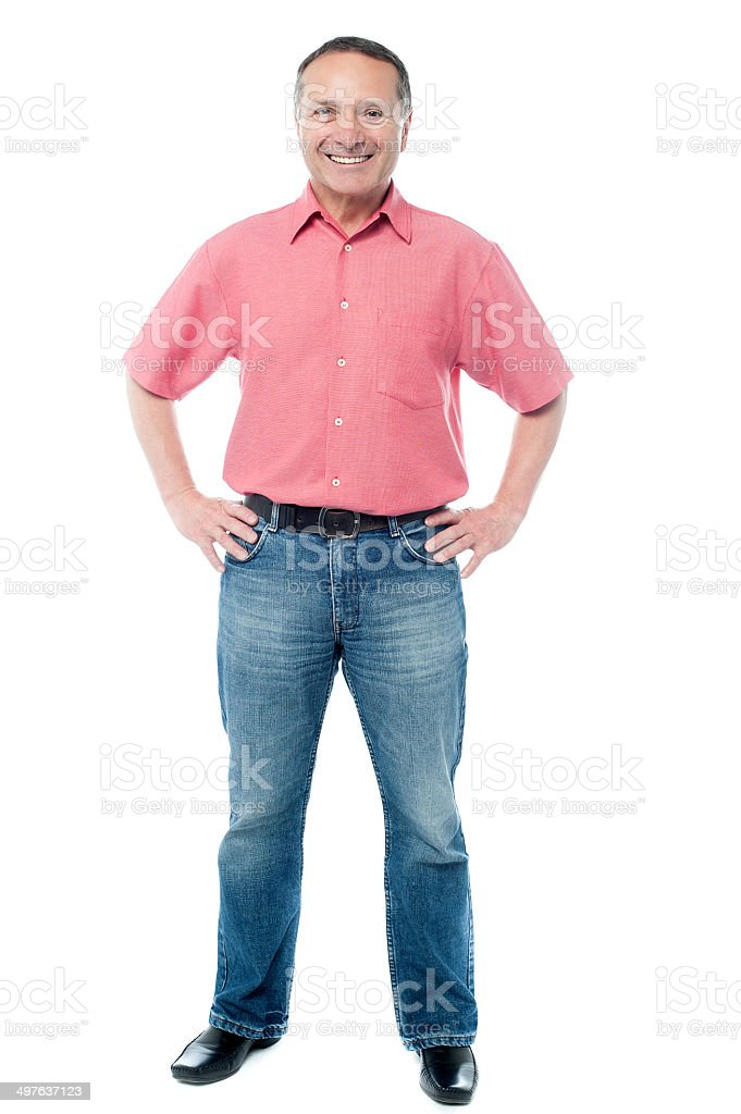 Smiling man posing confidently royalty-free stock photo