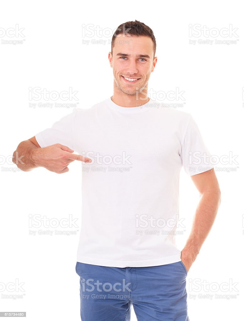 Smiling man showing empty copyspace stock photo