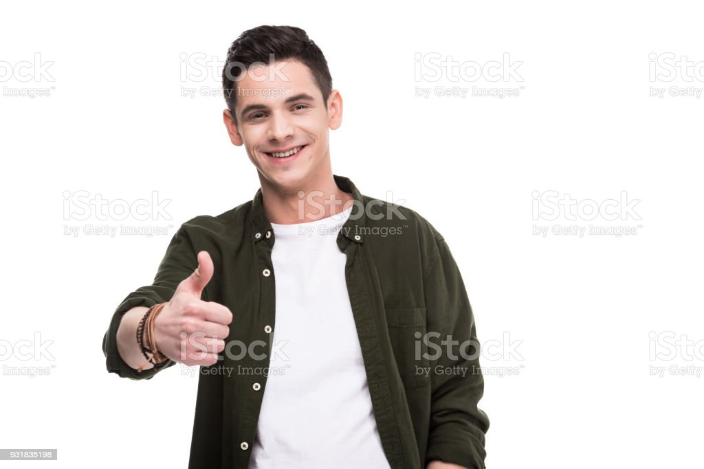 smiling man showing thumb up isolated on white stock photo