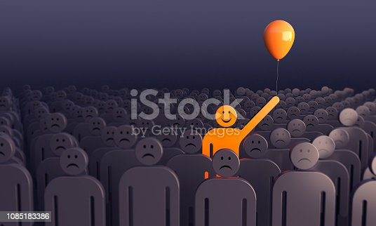 862670984 istock photo Smiling Man Standing Out From The Crowd 1085183386