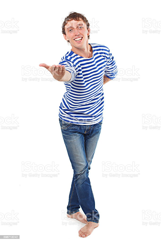 smiling man stretches out his hand to invite to dance stock photo