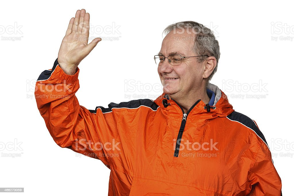 Smiling Man Waving royalty-free stock photo