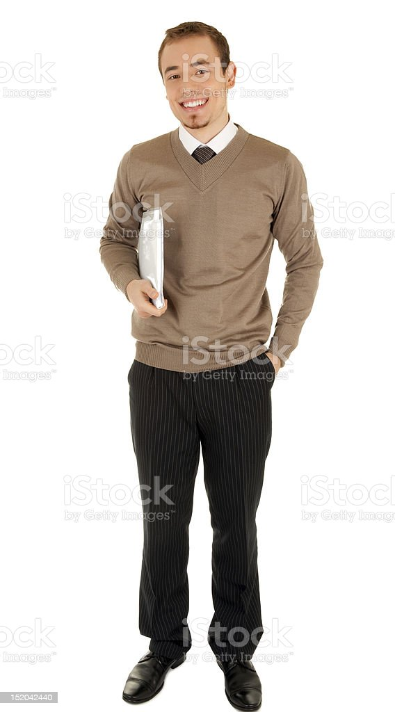Smiling man with documentation royalty-free stock photo