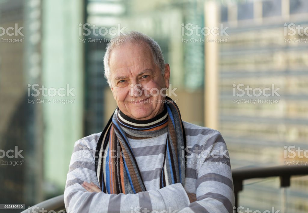 Smiling man with facial scar royalty-free stock photo