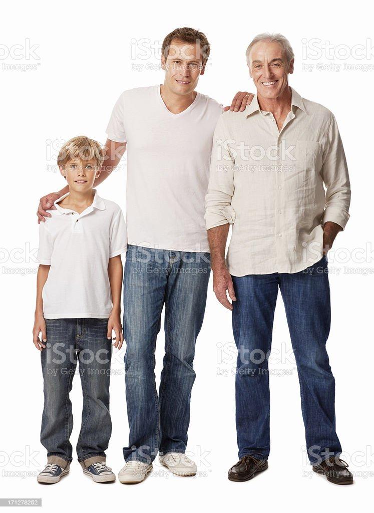 Sonriente padre con hijo y aislado - foto de stock